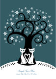 Winter tree with two cats and snow flakes. Colorful cartoon illustration of winter tree, pair of black cats and snowflakes isolated on dark blue background Stock Photo