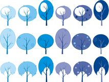 Winter trees. Winter blue trees set,symbolic image royalty free illustration