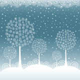 Winter trees on Christmas postcard background. Stock Photos