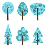 Winter trees collection Royalty Free Stock Photo