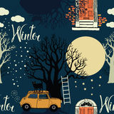 Winter trees, doors, cars and a bright moon on a b Royalty Free Stock Photo