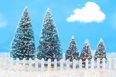 Winter trees with fence Stock Photography