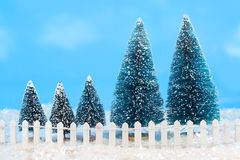 Winter trees with fence Royalty Free Stock Images