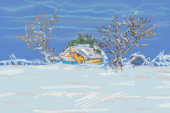 Winter Trees And Houses Royalty Free Stock Photography