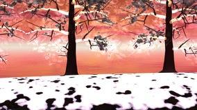 Winter trees landscape - 3D render stock video
