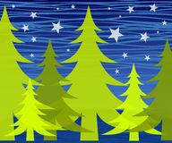 Winter Trees at Night Stars Royalty Free Stock Photos