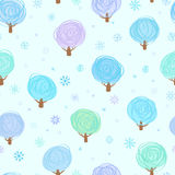 Winter trees seamless pattern Stock Photo