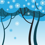 Winter trees with snowflakes Stock Photography