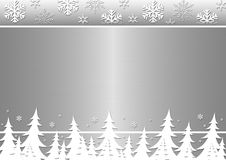 Winter trees, snowflakes on a silver background. Minor illustration with the image of winter trees, snowflakes on a silver metal background Stock Image