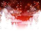 Winter Trees Snowscape Christmas Scene. Snow background. Fades to white at the bottom for easy use as border design or header Royalty Free Stock Images