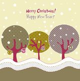 Winter trees, xmas illustration Stock Image