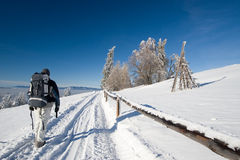 Winter trekking. In rural scenery during beautiful day royalty free stock images
