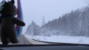 Winter. Trip by car in winter stock video footage