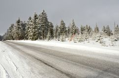 Winter trip in the Ore Mountains in Klinovec Czech Republic Royalty Free Stock Image