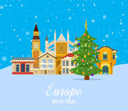 Winter trip to Europe. Festive atmosphere of New Year. Stock Photo