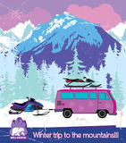 Winter trips to the mountains. royalty free illustration