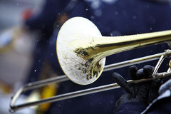 Winter trombone Royalty Free Stock Photography