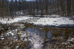 Winter Trout Stream. A small trout streams runs through a hardwood forest covered in winter snow Stock Photos
