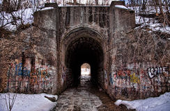 Winter Tunnel. A dark scary tunnel with a stream running through it in the middle of witner Stock Images