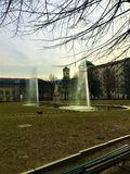 Winter in Turin city, Italy. Fountain, dog and square. Winter in Turin city, Italy. Fountain, dog, square, water, trees, grass and cold atmosphere stock photo