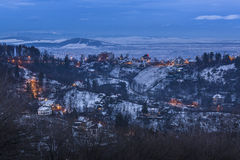 Winter twilight in Brasov, Romania Stock Image