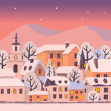 Winter twilight. Winter city with snow-covered roofs. Vector Christmas card royalty free illustration