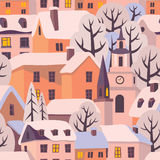 Winter twilight. Winter city with snow-covered roofs. Vector seamless pattern stock illustration