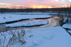 Winter Twilight at Minnesota Valley Wildlife Refuge Royalty Free Stock Images