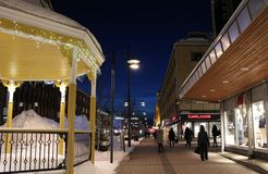 Winter twilight over Storgatan in Luleå Royalty Free Stock Photos
