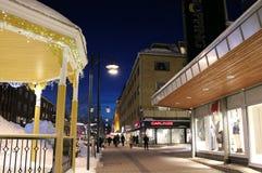 Winter twilight over Storgatan in Luleå Stock Image