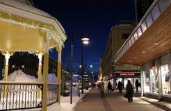 Winter twilight over Storgatan in Luleå Royalty Free Stock Photos