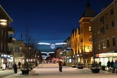 Winter twilight over Storgatan in Luleå Stock Photos