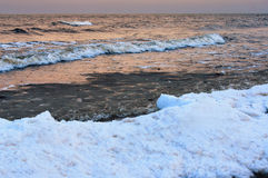 Winter twilight sea view. Stock Images