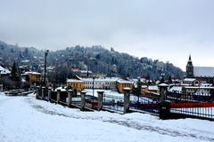 Winter. Typical urban landscape of the city Brasov, Transylvania Brasov is a town situated in Transylvania, Romania, in Royalty Free Stock Image
