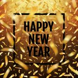 Winter typographic New Year with golden confetti fireworks. Happy New Year typography and frame on a dark background. Greeting card with golden  flying  confetti vector illustration