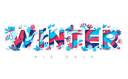 Winter typography design with paper cut shapes Stock Images