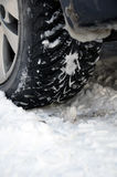 Winter tyre on snow Stock Image