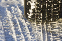 Winter tyre in the snow. Stock Images