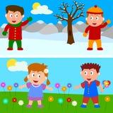 Winter-u. Frühlings-Kind-Fahne Lizenzfreie Stockbilder