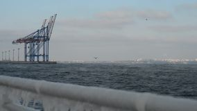 Winter ukraine odessa port cranes stock video footage