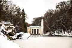 Winter in ukrainian park. Ukrainian park Sofievka in Uman. Winter, many snow, but main fountain working Royalty Free Stock Photography