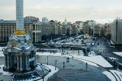 Winter Unabhängigkeits-quadratischer Kiews Ukraine stockbild