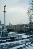 Winter Unabhängigkeits-quadratischer Kiews Ukraine stockfoto