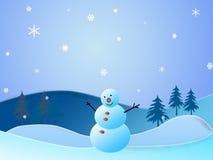 Winter und Schneemann Stockfotos