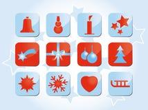Winter und Weihnachtsikonen und -symbole Stockbild