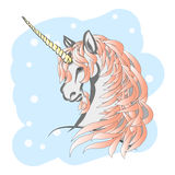 Winter unicorn with pink mane Royalty Free Stock Images