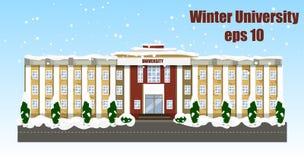 Winter university. Vector illustration. Education building Winter sity Stock Photo