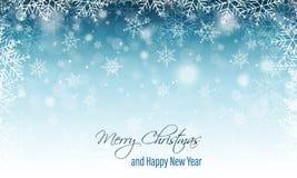 Winter unscharfe Fahne mit Schneeflocken Grußkarte der frohen Weihnachten und des glücklichen neuen Jahres stock abbildung