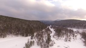 Winter in the Ural mountains. Russia. Bashkortostan. aerial view. Winter in the Ural mountains. Russia. Bashkortostan stock video footage