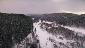 Winter in the Ural mountains. Russia. Bashkortostan. aerial view. Winter in the Ural mountains. Russia. Bashkortostan stock video